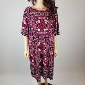 Roz & Ali Pink Black Patterned Shift Dress 3X